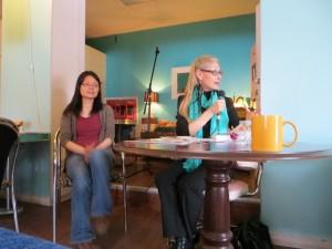 Author Lisa de Nikolits (right) speaks at Raw Sugar Café. Photo: Stephen Thirlwall.