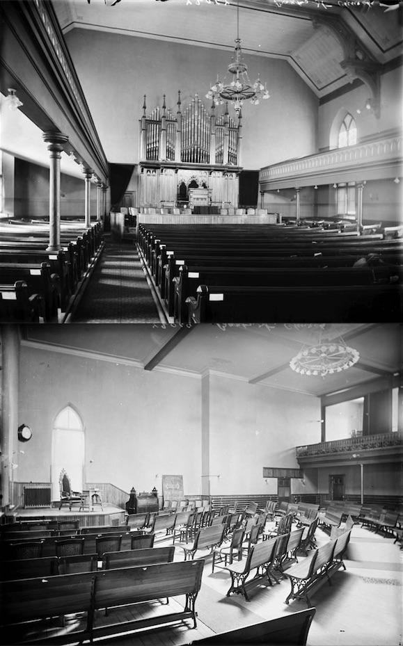Interior views of the Bank Street Presbyterian Church and Sunday School.