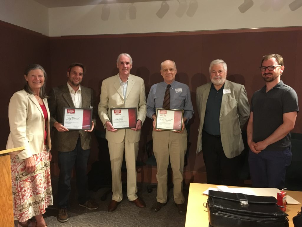 The Federation of Citizens' Associations handed out its annual awards at its AGM on June 15th. Centretown resident Judy Forrest was recognized for her work for an FLA member organization and Archie Campbell was given the lifetime achievement award. Also honoured was Ian Johns. From left to right: Sheila Perry, Tom Whillans, Ian Johns, Archie Campbell, John Chenier, Michael Powell. Photo: Tom Whillans.